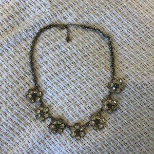 LOFT Silver Floral Stone Statement Necklace